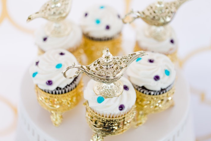 Arabian Lamp Cupcakes from a Shimmer & Shine Inspired Arabian Birthday Party on Kara's Party Ideas | KarasPartyIdeas.com (22)