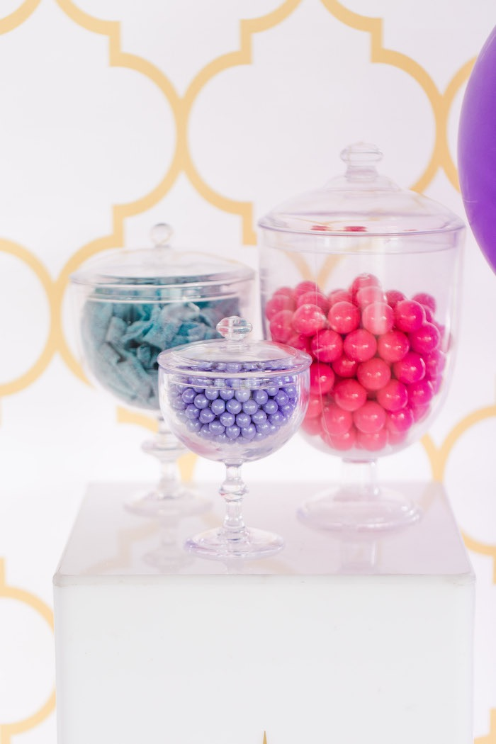 Candy-filled Apothecary Jars from a Shimmer & Shine Inspired Arabian Birthday Party on Kara's Party Ideas | KarasPartyIdeas.com (19)