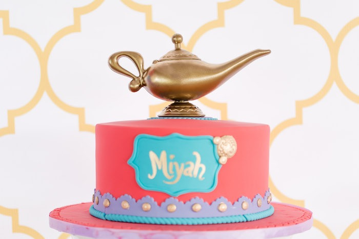 Arabian Birthday Cake from a Shimmer & Shine Inspired Arabian Birthday Party on Kara's Party Ideas | KarasPartyIdeas.com (16)