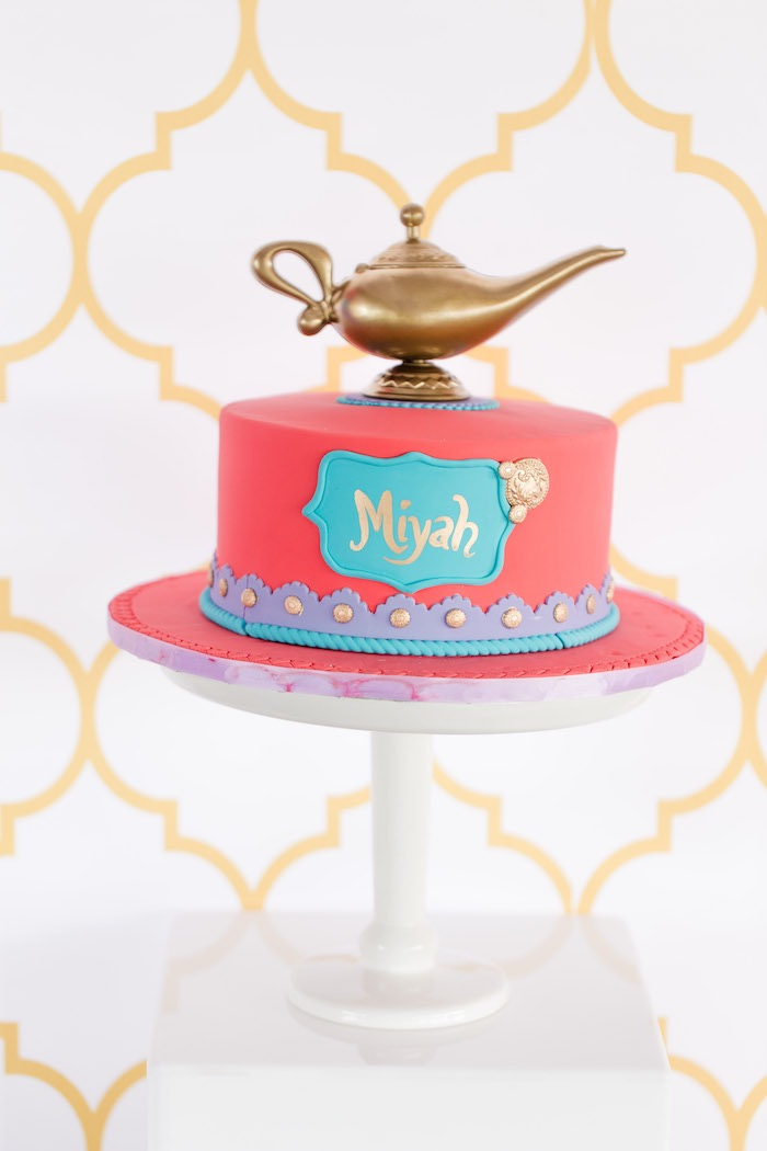 Arabian Birthday Cake from a Shimmer & Shine Inspired Arabian Birthday Party on Kara's Party Ideas | KarasPartyIdeas.com (15)