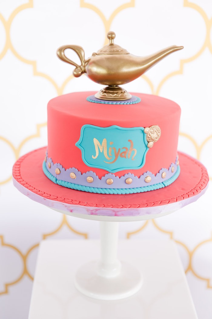 Arabian-inspired Birthday Cake from a Shimmer & Shine Inspired Arabian Birthday Party on Kara's Party Ideas | KarasPartyIdeas.com (14)