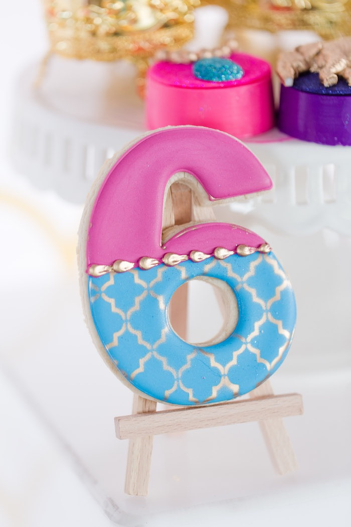 Arabian-inspired Number Cookie from a Shimmer & Shine Inspired Arabian Birthday Party on Kara's Party Ideas | KarasPartyIdeas.com (12)