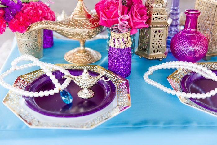Arabian-inspired Table Centerpiece from a Shimmer & Shine Inspired Arabian Birthday Party on Kara's Party Ideas | KarasPartyIdeas.com (37)