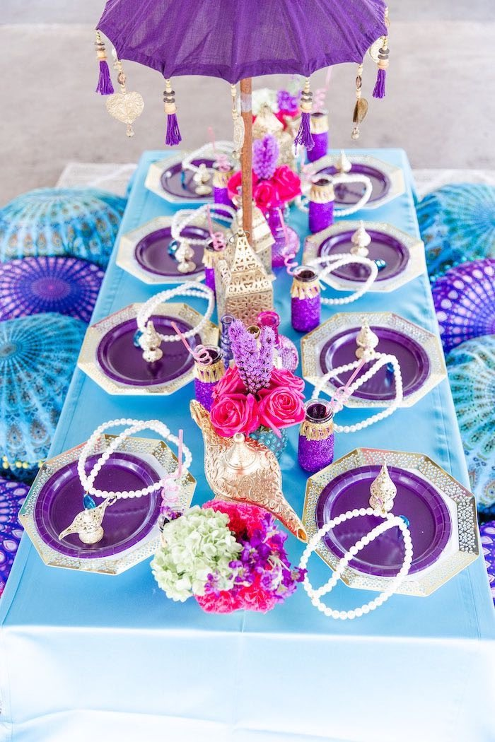 Arabian Guest Table + Table Settings from a Shimmer & Shine Inspired Arabian Birthday Party on Kara's Party Ideas | KarasPartyIdeas.com (34)