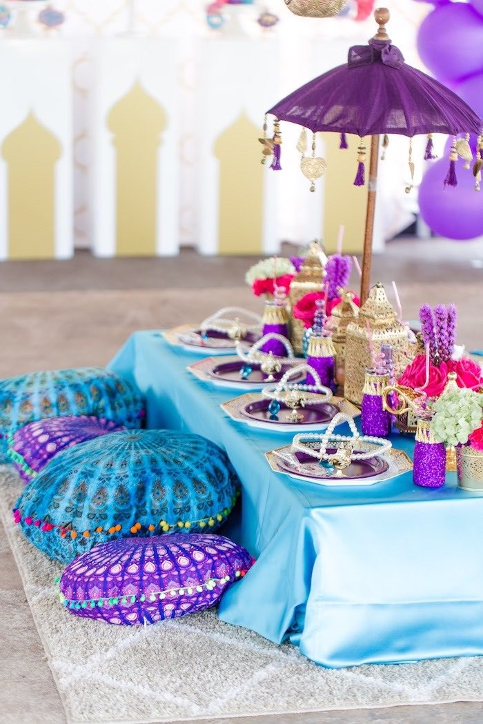 Arabian Guest Table from a Shimmer & Shine Inspired Arabian Birthday Party on Kara's Party Ideas | KarasPartyIdeas.com (33)
