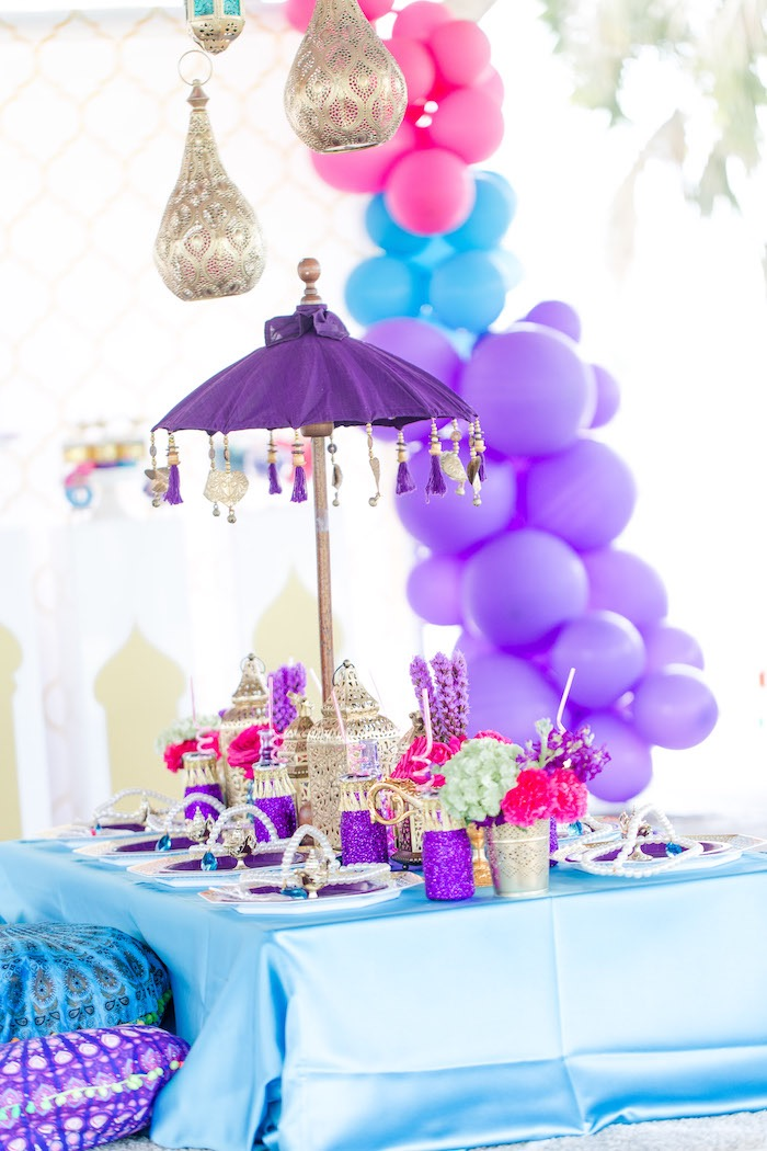Arabian Guest Table from a Shimmer & Shine Inspired Arabian Birthday Party on Kara's Party Ideas | KarasPartyIdeas.com (32)