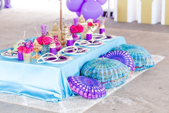Arabian Guest Table from a Shimmer & Shine Inspired Arabian Birthday Party on Kara's Party Ideas | KarasPartyIdeas.com (31)