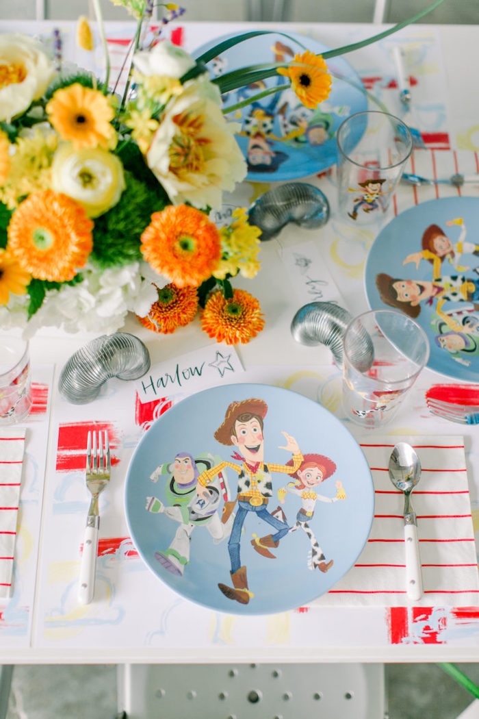 Modern Toy Story Table Setting from a Toy Story Party on Kara's Party Ideas | KarasPartyIdeas.com (21)
