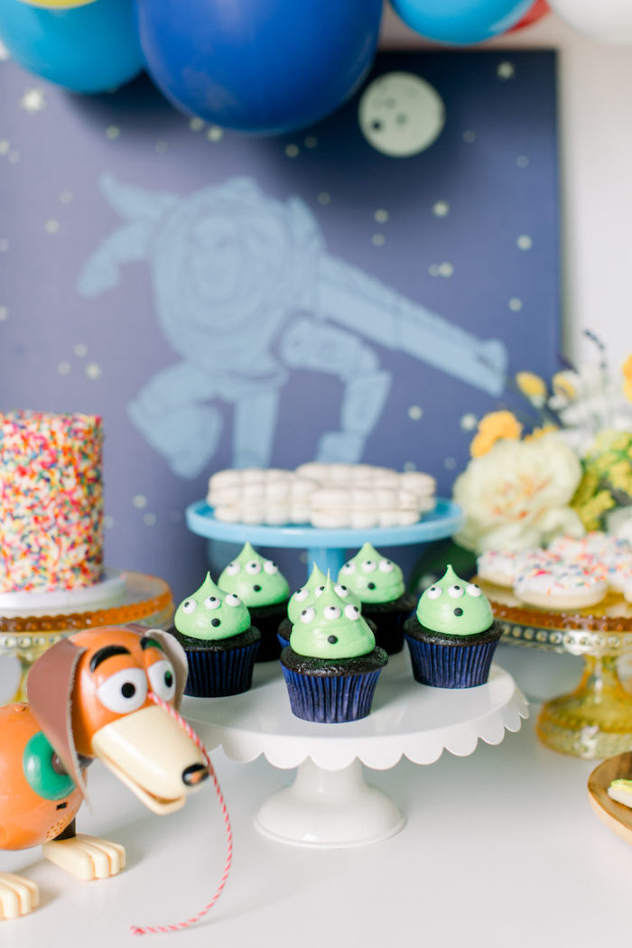 Toy Story Alien Cupcakes from a Toy Story Party on Kara's Party Ideas | KarasPartyIdeas.com (17)