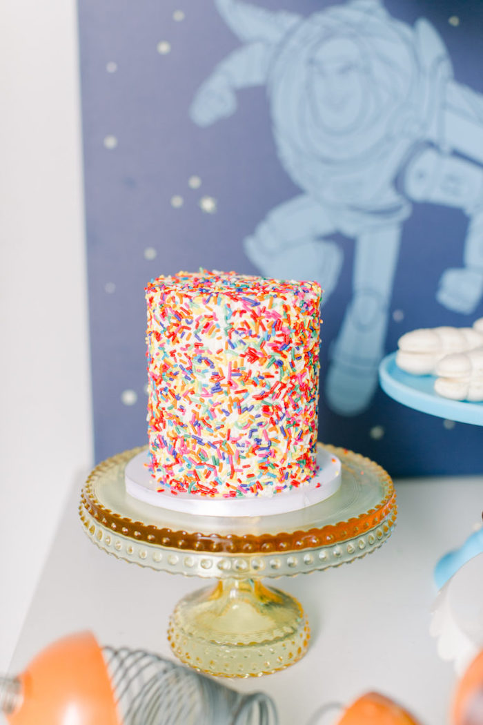 Sprinkle Confetti Cake from a Toy Story Party on Kara's Party Ideas | KarasPartyIdeas.com (14)