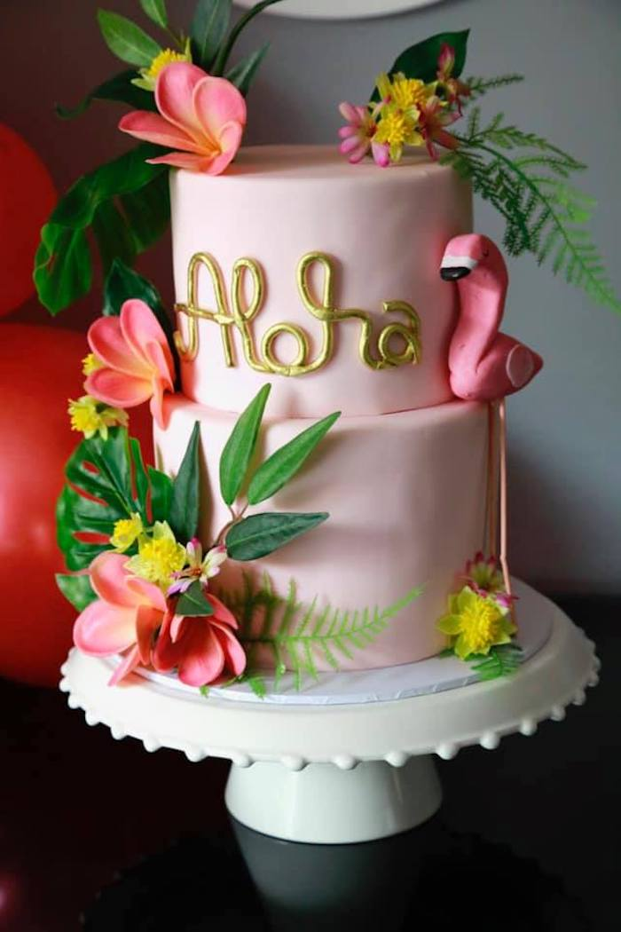 Aloha Cake from a Tropical Pink Flamingo Baby Shower on Kara's Party Ideas | KarasPartyIdeas.com (11)