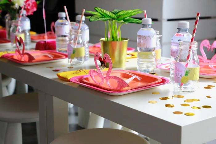 Flamingo Themed Table Setting from a Tropical Pink Flamingo Baby Shower on Kara's Party Ideas | KarasPartyIdeas.com (10)