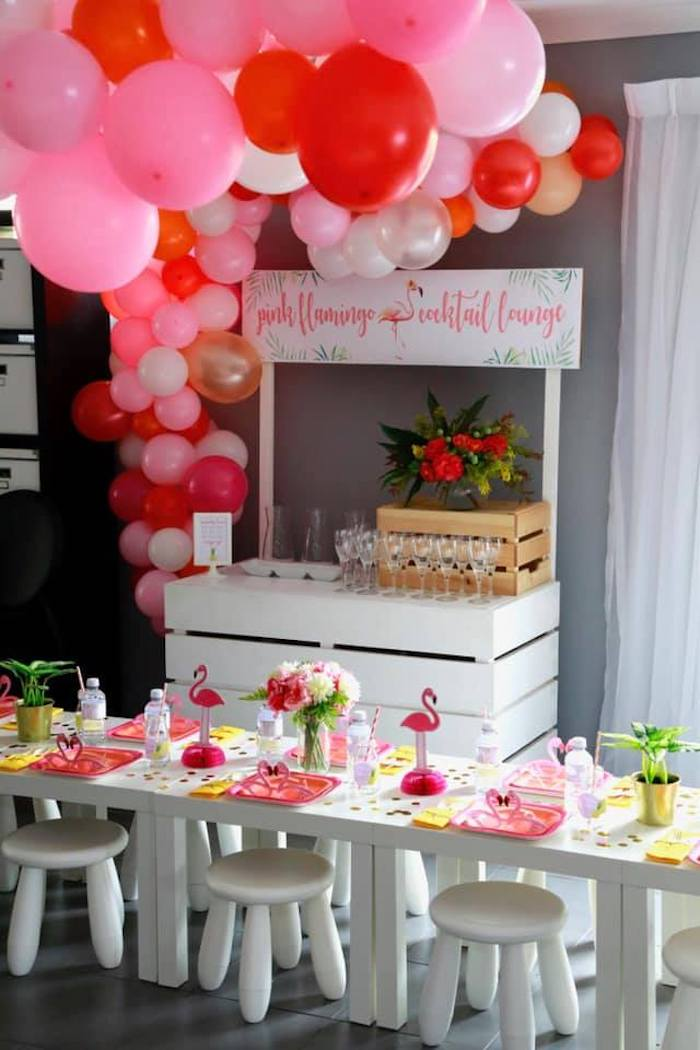 Beverage Stand + Guest Table from a Tropical Pink Flamingo Baby Shower on Kara's Party Ideas | KarasPartyIdeas.com (9)