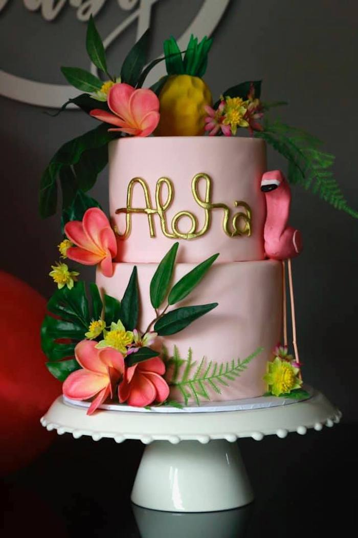 Aloha Cake from a Tropical Pink Flamingo Baby Shower on Kara's Party Ideas | KarasPartyIdeas.com (20)