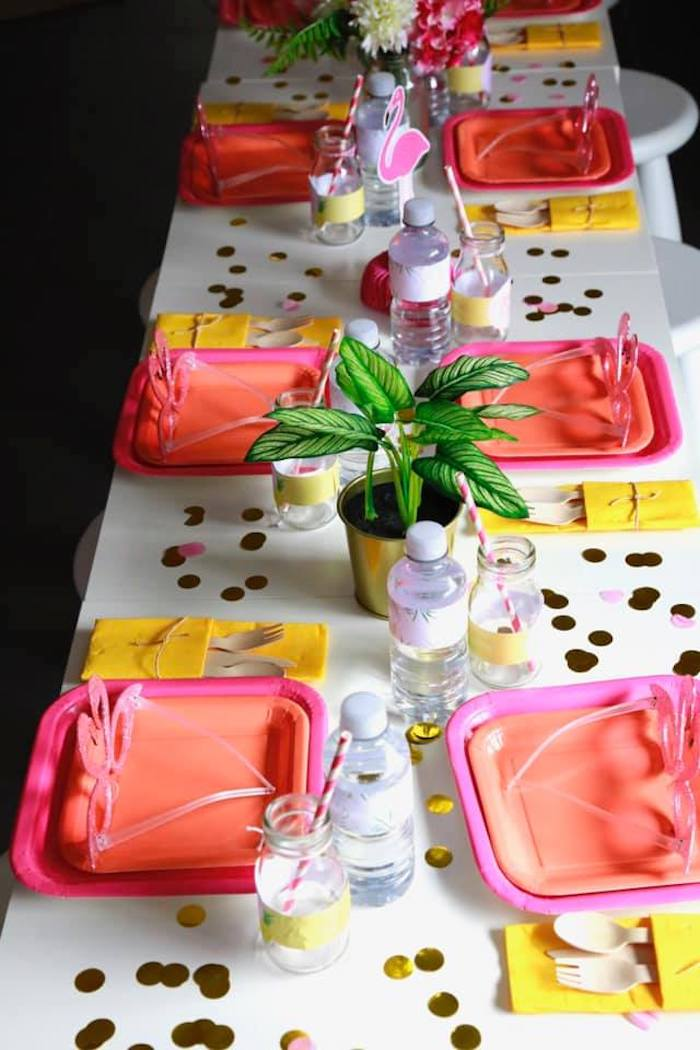Glam Pink Flamingo Guest Table from a Tropical Pink Flamingo Baby Shower on Kara's Party Ideas | KarasPartyIdeas.com (19)
