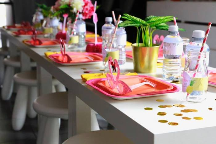 Flamingo Themed Guest Table from a Tropical Pink Flamingo Baby Shower on Kara's Party Ideas | KarasPartyIdeas.com (16)