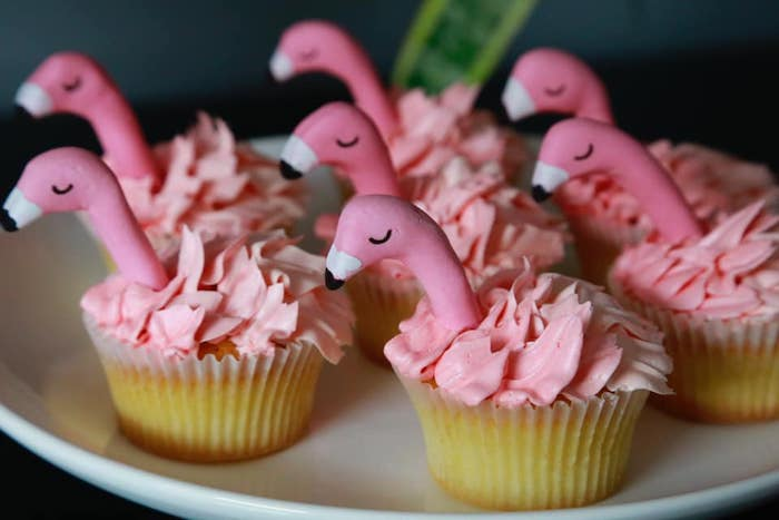 Pink Flamingo Cupcakes from a Tropical Pink Flamingo Baby Shower on Kara's Party Ideas | KarasPartyIdeas.com (15)