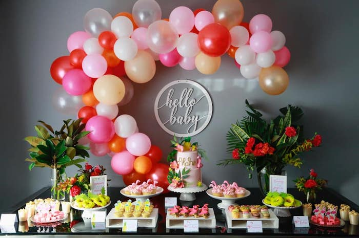 Hello Baby Dessert Table from a Tropical Pink Flamingo Baby Shower on Kara's Party Ideas | KarasPartyIdeas.com (14)