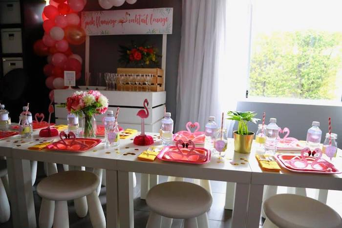 Flamingo Themed Guest Table from a Tropical Pink Flamingo Baby Shower on Kara's Party Ideas | KarasPartyIdeas.com (13)