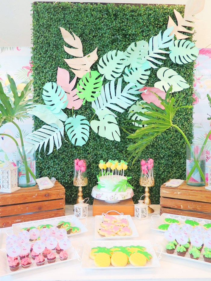 Tropical Themed Dessert Table from a Tropical Pink Flamingo Birthday Party on Kara's Party Ideas | KarasPartyIdeas.com (13)