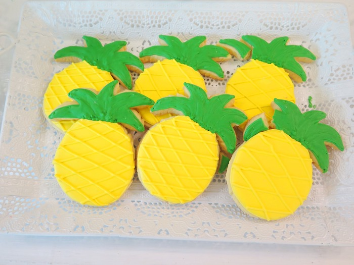 Pineapple Sugar Cookies from a Tropical Pink Flamingo Birthday Party on Kara's Party Ideas | KarasPartyIdeas.com (12)
