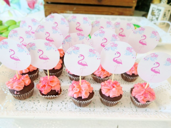 Pink Flamingo Cupcakes from a Tropical Pink Flamingo Birthday Party on Kara's Party Ideas | KarasPartyIdeas.com (8)