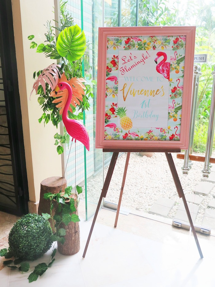 Flamingo Themed Welcome Sign from a Tropical Pink Flamingo Birthday Party on Kara's Party Ideas | KarasPartyIdeas.com (7)