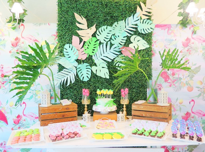 Flamingo Themed Dessert Table from a Tropical Pink Flamingo Birthday Party on Kara's Party Ideas | KarasPartyIdeas.com (4)