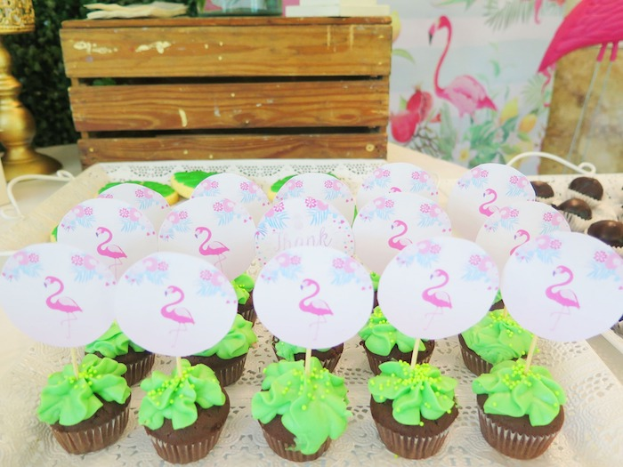 Tropical Leaf Cupcakes with Flamingo Toppers from a Tropical Pink Flamingo Birthday Party on Kara's Party Ideas | KarasPartyIdeas.com (3)