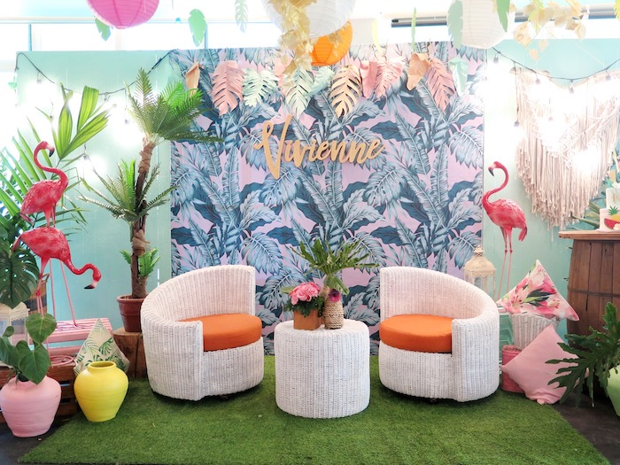 Tropical Flamingo Backdrop from a Tropical Pink Flamingo Birthday Party on Kara's Party Ideas | KarasPartyIdeas.com (21)