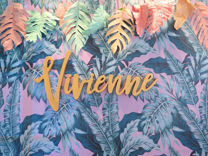 Tropical Leaf + Scripted Name Sign from a Tropical Pink Flamingo Birthday Party on Kara's Party Ideas | KarasPartyIdeas.com (20)
