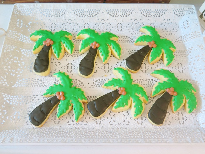 Palm Tree Sugar Cookies from a Tropical Pink Flamingo Birthday Party on Kara's Party Ideas | KarasPartyIdeas.com (19)