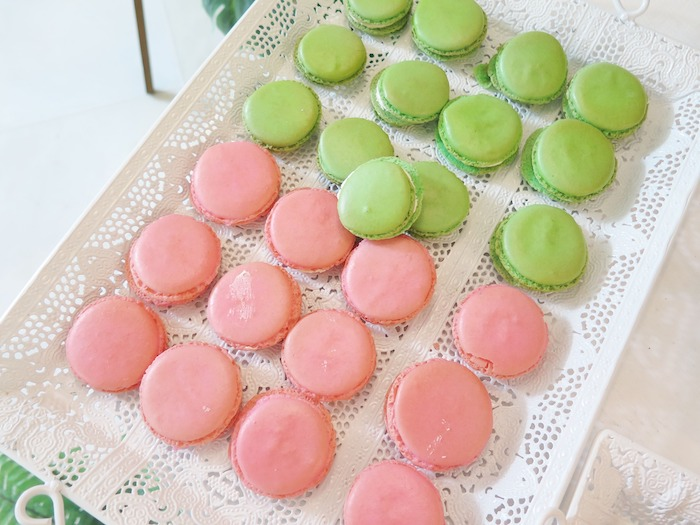 Pink + Greene Macarons from a Tropical Pink Flamingo Birthday Party on Kara's Party Ideas | KarasPartyIdeas.com (16)