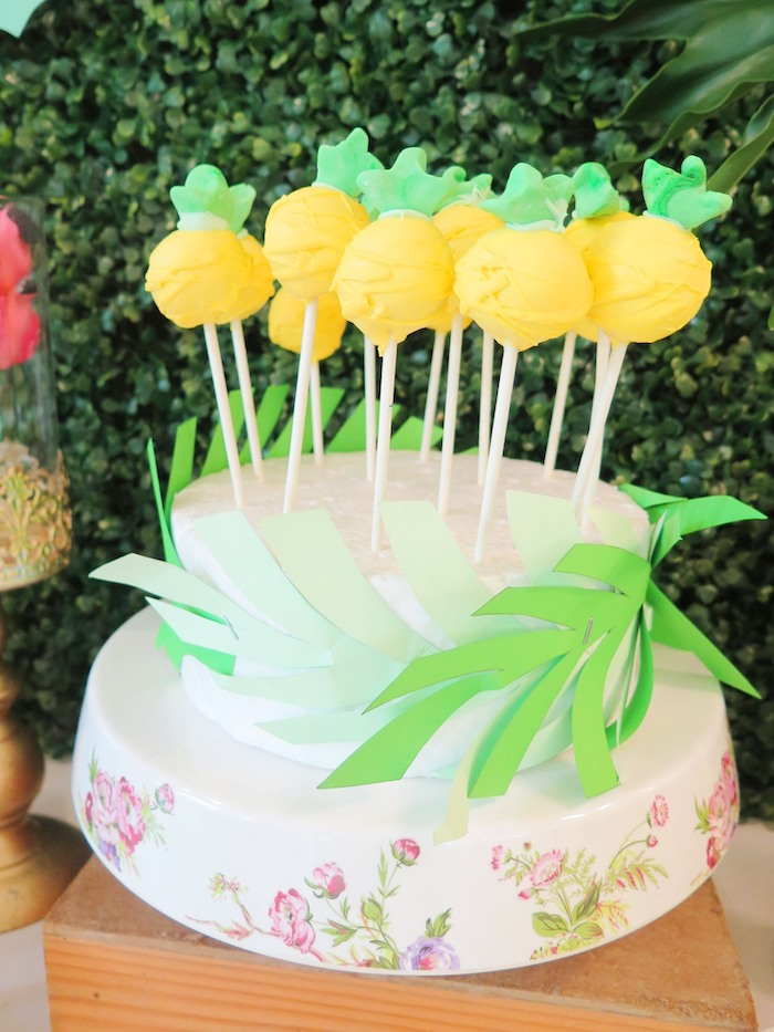 Pineapple Cake Pops from a Tropical Pink Flamingo Birthday Party on Kara's Party Ideas | KarasPartyIdeas.com (14)