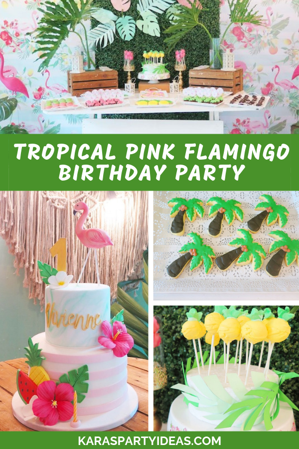 Tropical pink Flamingo Birthday Party via Kara's Party Ideas - KarasPartyIdeas.com