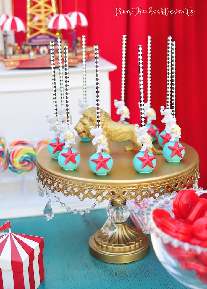 Circus Star Cake Pops from a Vintage Circus Birthday Party on Kara's Party Ideas | KarasPartyIdeas.com (14)