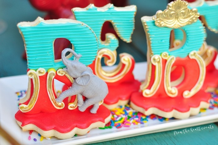 Circus Themed Letter Sugar Cookies from a Vintage Circus Birthday Party on Kara's Party Ideas | KarasPartyIdeas.com (11)