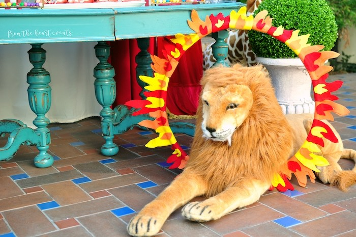Ring of Fire Lion from a Vintage Circus Birthday Party on Kara's Party Ideas | KarasPartyIdeas.com (22)