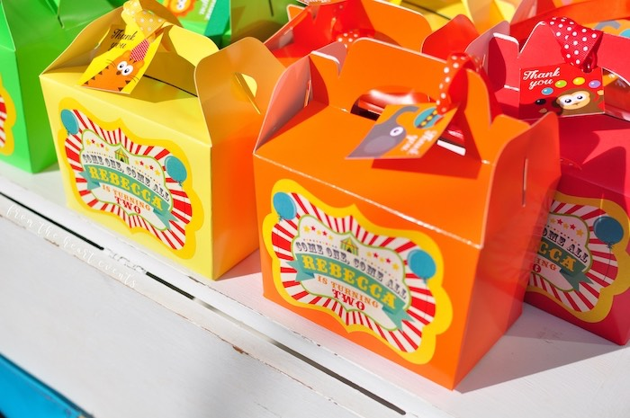Circus Themed Gable Favor Boxes from a Vintage Circus Birthday Party on Kara's Party Ideas | KarasPartyIdeas.com (20)