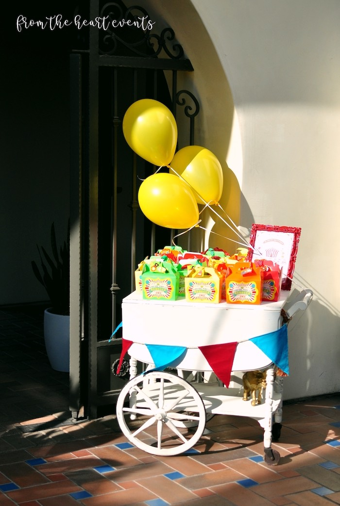 Circus Themed Favor Cart from a Vintage Circus Birthday Party on Kara's Party Ideas | KarasPartyIdeas.com (19)