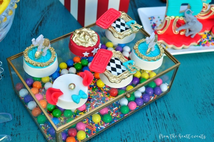 Circus Themed Chocolate Covered Oreos from a Vintage Circus Birthday Party on Kara's Party Ideas | KarasPartyIdeas.com (18)