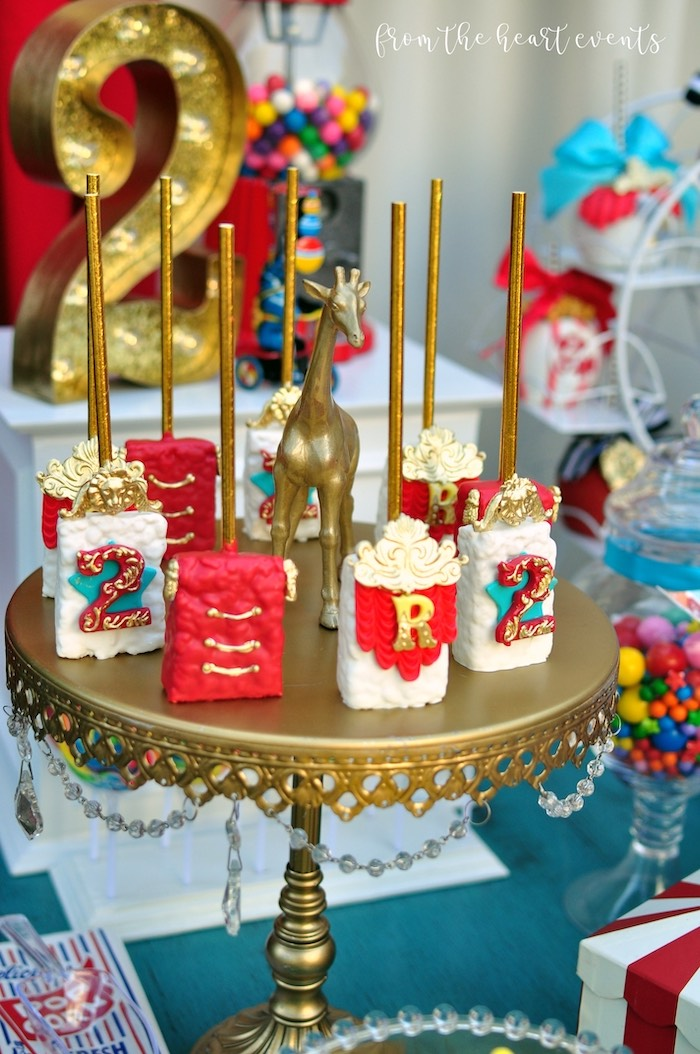 Circus Themed Rice Krispie Treats from a Vintage Circus Birthday Party on Kara's Party Ideas | KarasPartyIdeas.com (17)