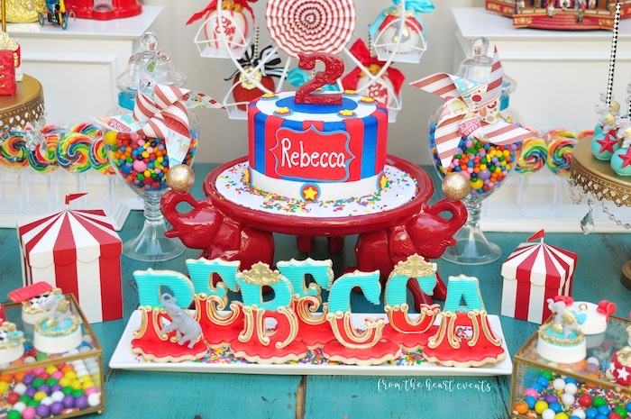 Circus Cake + Cookies from a Vintage Circus Birthday Party on Kara's Party Ideas | KarasPartyIdeas.com (15)