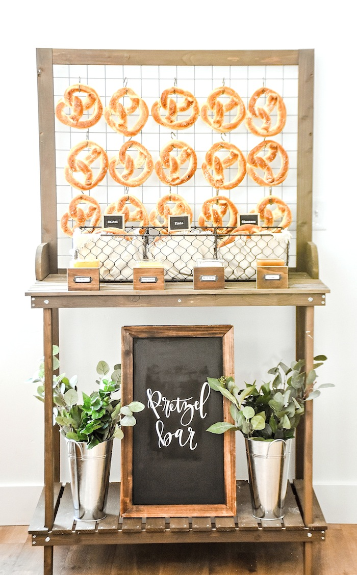 Pretzel Bar Rustic Boy Baptism Party Luncheon LDS by Kara's Party Ideas KarasPartyIdeas.com 4