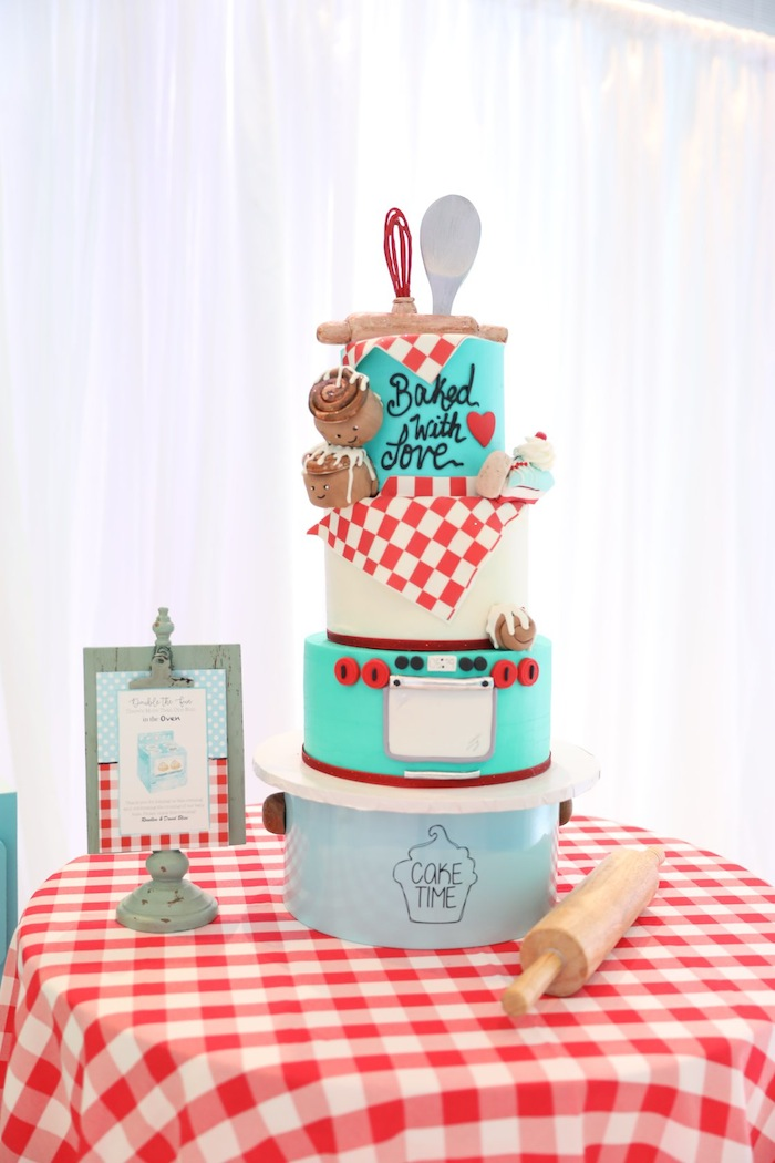 bakery cake at baby shower for twins via kara's party ideas karaspartyideas.com