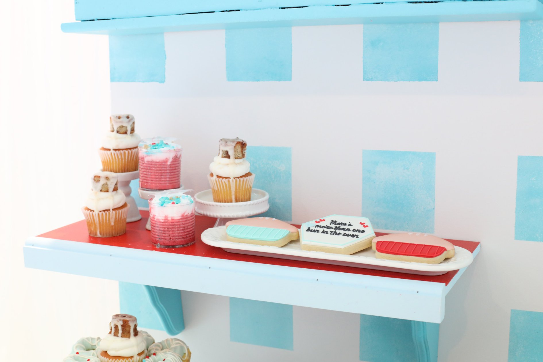 dessert shelf baby shower double the fun oven via kara's party ideas karaspartyideas.com