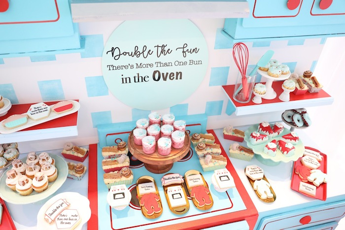 double the fun oven bun baby shower for twins via kara's party ideas karsapartyideas.com
