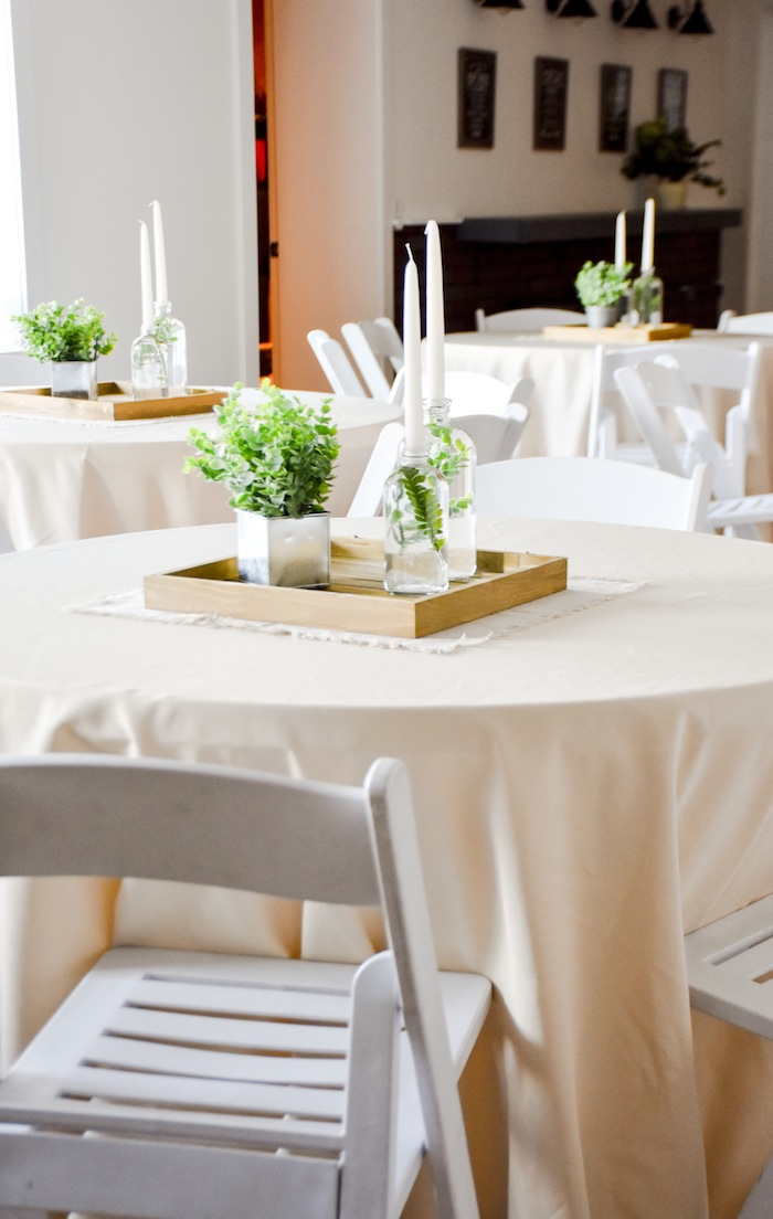 Centerpiece Garden Rustic Earth Right After Rain Farmhouse Greenery Centerpiece Boy Baptism Party Luncheon LDS by Kara's Party Ideas 3