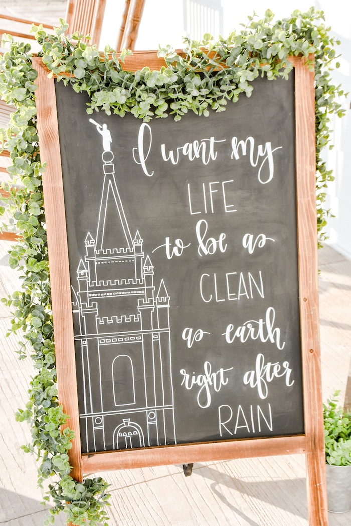 Chalk Sign Garden Rustic Earth Right After Rain Farmhouse Boy Baptism Party Luncheon LDS by Kara's Party Ideas KarasPartyIdeas.com 8