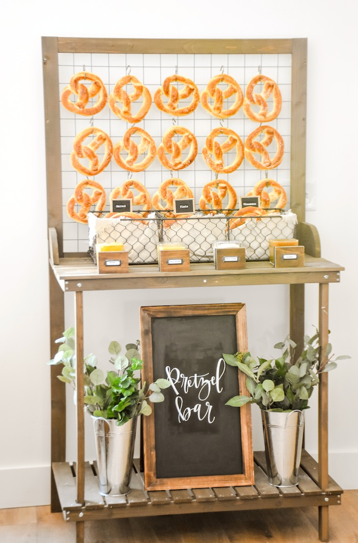 Pretzel Bar Rustic Boy Baptism Party Luncheon LDS by Kara's Party Ideas KarasPartyIdeas.com 1a